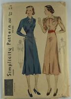 1930s Simplicity sewing pattern dress Bust 32 Rare 2562