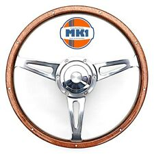 "Classic Austin Mini GT 15"" Polished Riveted Light Wood Rim Steering Wheel Kit"