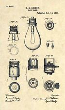 Official Thomas Edison Lamp US Patent Art Print - Vintage Original Antique 187