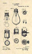 Official Thomas Edison Lamp US Patent Art Print - Vintage Original Antique 187