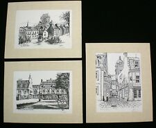 Clearance3 Original Pen & Ink Drawings Quebec Rue du Tresor Signed MAGHER 14x18""
