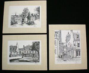 "3 Original Pen & Ink Drawings Quebec Rue du Tresor Signed MAGHER 14x18"""
