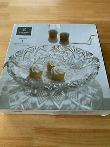 NEW GIBSON HOME JEWELITE ROUND GLASS DECORATIVE PLATTER LARGE BOWL HOLIDAYS