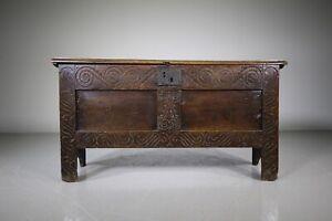 17th Century English Antique Period Oak Coffer