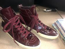 6f6cd6e0ec4 Yves Saint Laurent YSL Dark Red Patent Leather High Top Sneaker Size 42 Euro