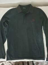 Fred Perry 100% Merinos Polo Manches Longues Gris Grey Size S
