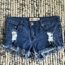 REVERSE Women's Size 10 Blue Denim Cut Off Frayed Edges Mini Shorts Distressed