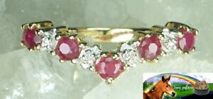 NEW Genuine Solid 9CT Yellow Gold Natural Ruby Diamond Eternity Wishbone Ring L