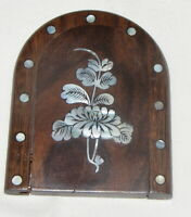 261#C-- Compact Mirror Souvenir Abalone Wood Flower Inlay Vintage