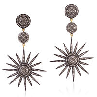Christmas Gift Pave Diamond 925 Sterling Silver 14k Gold Dangle Earrings Jewelry