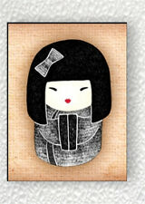 ASIAN KOKESHI DOLL BLACK #1 FRIDGE MAGNET -sng6Z