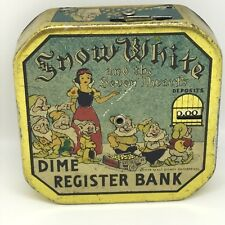 Vintage SNOW WHITE Dime Register Bank. Wonderful Example. Great Collectible!