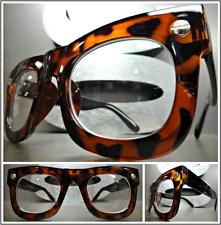 Men's or Women VINTAGE RETRO Style Clear Lens EYE GLASSES Tortoise & Black Frame