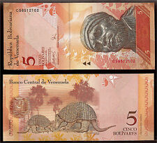 World Paper Money - Venezuela 5 Bolivares 2007 P89 @ Crisp UNC