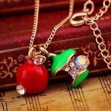 Trailers De Apple delicado Cadena 45 cm Collar verde rojo Estrás Manzana