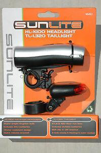 SUNLITE HL-K100 TL-L320 Head Tail Light Combo Set - Bike Bicycle Safety NEW!