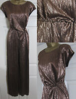 NEW M&S Womens Metallic Jumpsuit Wide Leg Evening Party Occasion Bronze Sz 6-18
