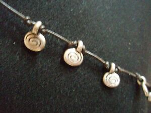 Sterling Silver Spiral Dangles Necklace Knotted Leather Cord Designer Clover Tab