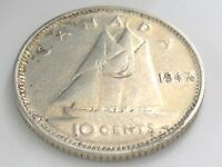 1947 Canada Ten 10 Cent Silver Dime Circulated Damaged George VI Coin I362