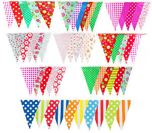 Long Bunting Flags Birthday Garden Wedding Baby Shower Floral 100ft 30m 60 Flag