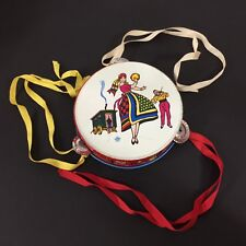 Vintage US Metal Toy Mfg. Co Litho Musical Tin Tambourine Toy Gypsy Mult Color