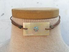 Choker Necklace / Ab Stones Choker Brown Faux Leather With Ab Stones Flower