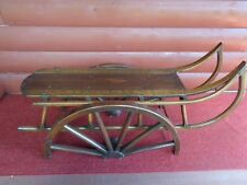 "Vintage Large Child's Wooden Sled on Wood Stand Approx 45"" Long"