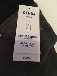 H&M (New) Mama Super Skinny Maternity Jeans Size 10 Grey