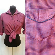 Vintage Bobbie Brooks Plaid Button Front Shirt-Red Navy-Size Xs