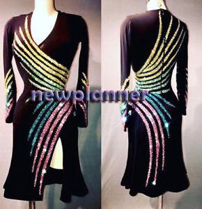 L1482 women Ballroom Rhythm salsa Latin samba  dance dress UK 12 sleeve