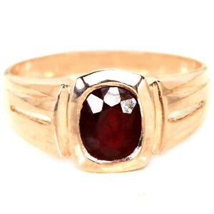GENUINE BLOOD RED RUBY OVAL STERLING 925 SILVER SOLITAIRE RING SIZE 9.25