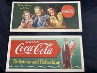 Vtg 1944 & 1951 Coca Cola Original Advertising Litho Coke  Cardboard Card