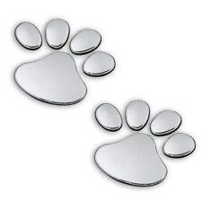 Car Pet Animal Paw Footprints Emblem Auto Truck Decor 3D Sticker Decal Silber