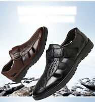 Mens Real Leather Sandals Summer Beach Hole Shoes Non-slip Outdoor Flats 4.5-13