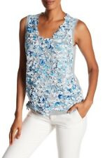 ELIE TAHARI Grey Marl with Blue & White Lace Front LEANDRA Top S 12 14 NEW