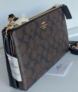 NWT Coach Signature Lyla Double Zip Crossbody Messenger Bag F58328 Brown Black