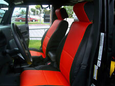 JEEP WRANGLER JK 2007-2012 4 DOORS BLACK/RED S.LEATHER CUSTOM FRONT SEAT COVER