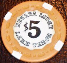 Old $5 NEVADA LODGE Casino Poker Chip Vintage Small Crown Lake Tahoe NV 1979