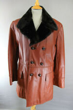 SUPERB VINTAGE 1970's DOUBLE-BREASTED BROWN LEATHER FUR LINED COAT 36 INCH
