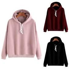 Womens Hooded Sweatshirt Ladies Winter Warm Hoodies Tops Jumper Pullover Sizes