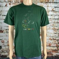 Vintage Disney Mickey Mouse Unlimited Embroidered T Shirt Green Size Large