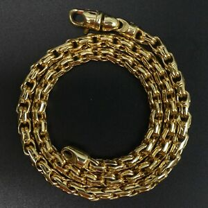 HEAVY 9 CT GOLD FANCY LINK 43 CM CHAIN NECKLACE - 37.1 GRAMS