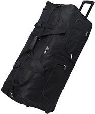 "30"" Polyester Rolling Duffel Wheeled Luggage Suitcase Travel Duffel Bag - Black"