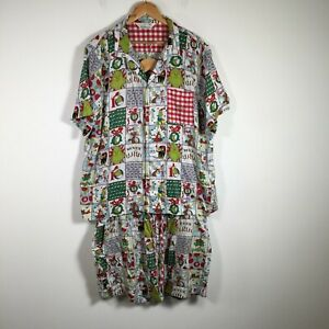Peter Alexander Dr Seuss Grinch mens pyjama set size 3XL shirt + boxer shorts