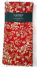 """LAUREN Ralph Lauren Set of 2 KITCHEN TOWELS Holiday 20"""" x 30"""" Red / Floral"""