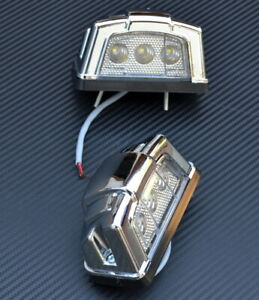 2x 24V LED Bianco Targa Cromo Luci Per Telaio Rimorchio Scania Man Volvo