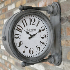Double Sided Clock Wall Mountable Decoration Antique Grey Timer Indoor Unit New
