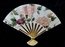 Vintage Fitz & Floyd Cloisonne 1986 / 94 Peony Porcelain Fan Wall Hanger Dish