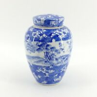 Antique Export Chinese Porcelain Tea Caddy Ginger Jar Blue White Lid & Insert