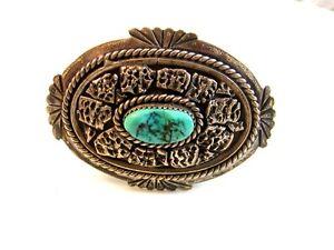 C.M. Yazzie Navajo Silver & Turquoise Belt Buckle